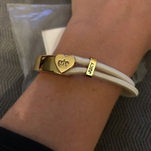 Juicy Couture Jewelry - NWT! Juicy Couture B Heart Bangle white with Gold